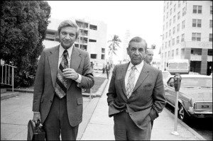 27 Feb 1973, Miami, Florida, USA --- Original caption: Meyer Lansky stands outside the courthouse 2/27 after the second day of his trial on charges of contempt. Lansky testified today, telling the jury he did not answer a grand jury summons because his doctor advised against traveling. His trial is expected to end 2/28. --- Image by © Bettmann/CORBIS